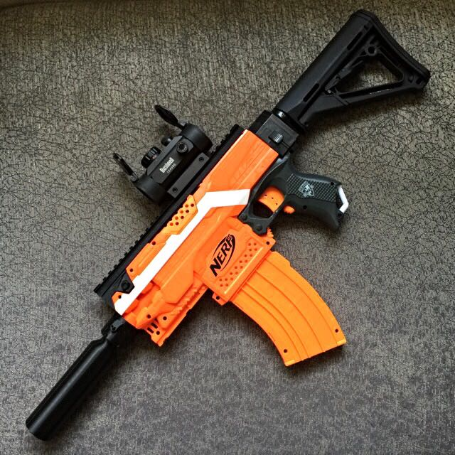 F10555 3D Printed Dummy Silencer For Nerf Blaster, Toys & Games on Carousell