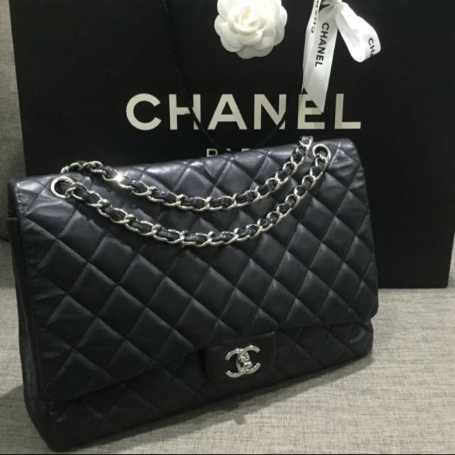 b84fb9052d597 💎SOLD!!!💎 Great Deal!! Chanel Maxi Single Flap Bag In Black ...