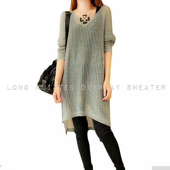 Long Knitted Overlay Sweater