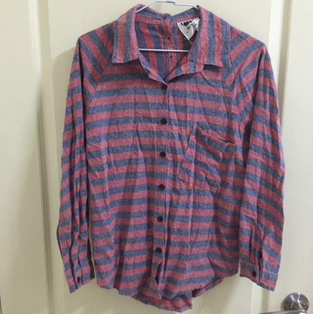 粉藍條文超Q襯衫(3種穿法)