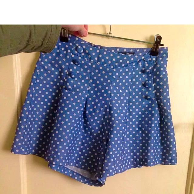 Size 8 Poka Dot Pleat Shorts Blue And White High Waisted