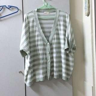 果綠色 寬鬆 七分袖 罩衫