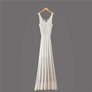 莫代爾質料米白超長裙