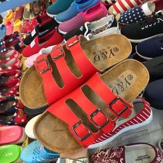 三條帶 勃肯拖鞋 紅色 限時免運