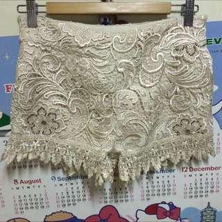 日本Lagunamoon米色蕾絲褲