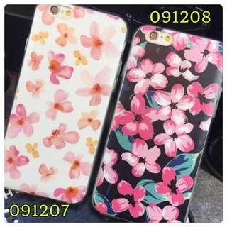 I Phone6/6+花系列🌹小紅花白底黑底手機軟殼