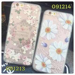 I Phone6/6+花系列🌹粉白玫瑰/白大菊花透明手機軟殼