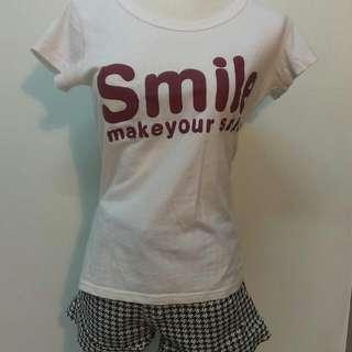 【可拆售】smile白色短T+千鳥短褲