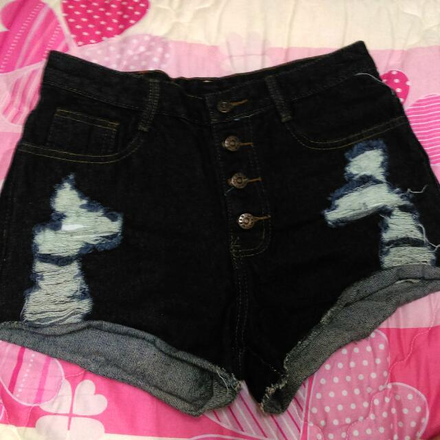 深藍排扣高腰短褲