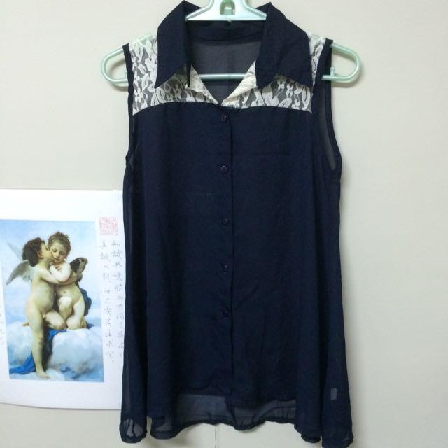 深藍雪紡蕾絲襯衫
