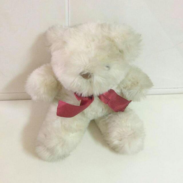 【贈品】白色小泰迪熊布娃娃