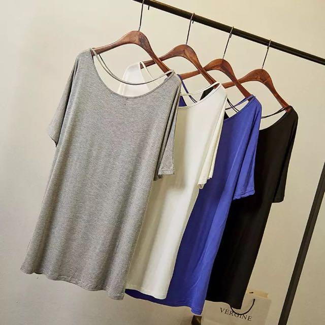 [一字領寬鬆懶人連衣裙]黑/白/藍/灰 ☑️