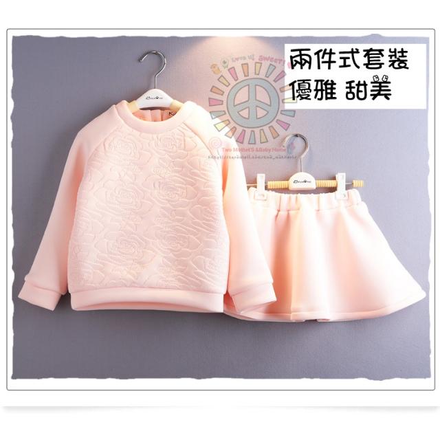韓國-秋冬新款玫瑰壓花空氣棉長袖上衣+短裙 中大女童套裝 (活動優惠中-免運費)限量20組