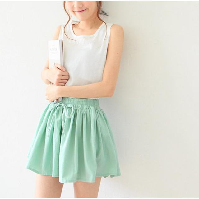 全新 瘦腿棉麻 縮腰 傘擺褲裙 白色