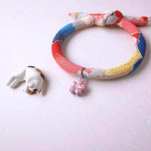 日本手工項圈 - 單結式 ( 和服花布 + 櫻花鈴噹 )