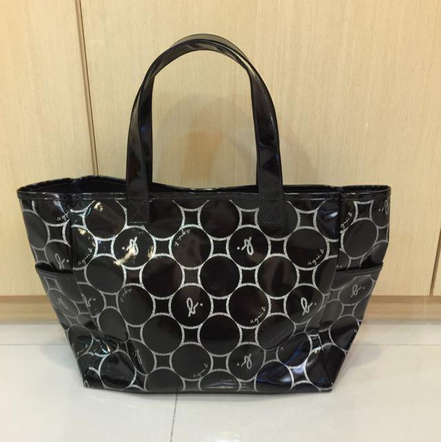 Agnes b 黑色漆皮防水托特包(日本製)