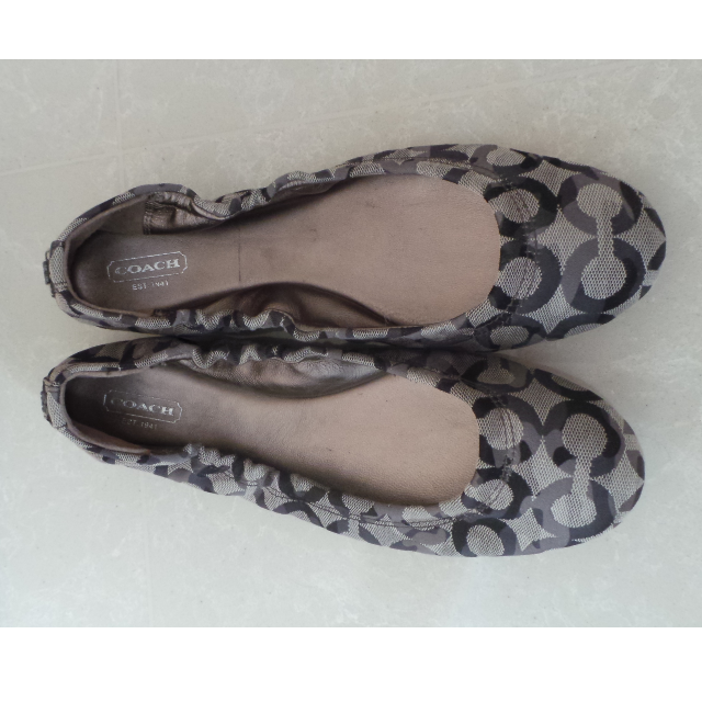 18a6e6618 COACH Aly Womens Size 10 US GREY GRAPHIC C FABRIC Ballet Flats Shoes ...