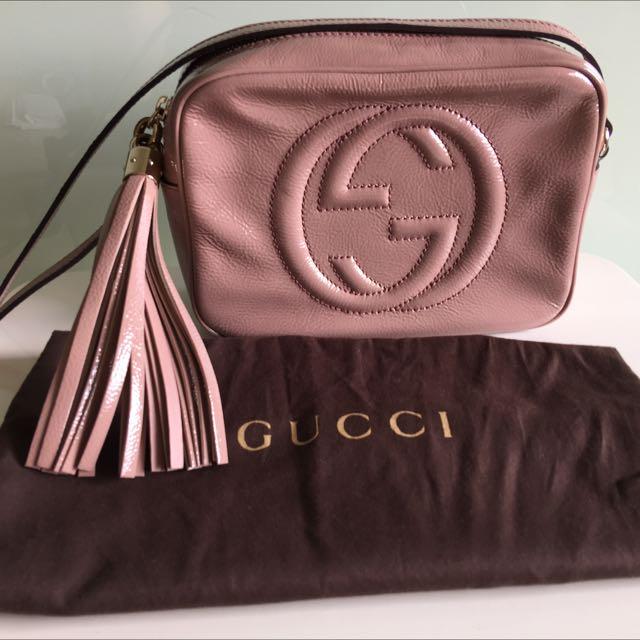 [待交易中請勿直接下標]Gucci disco bag 漆皮粉膚色