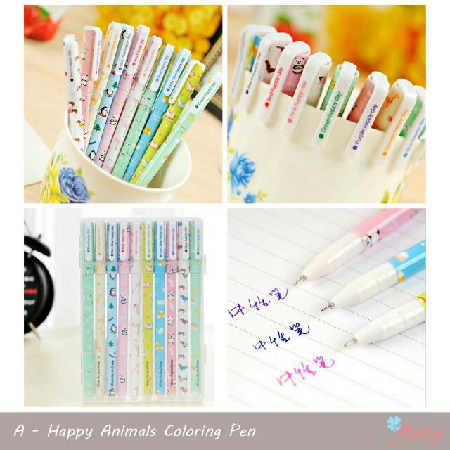 Happy Animals Coloring Pen