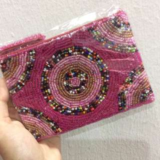[REDUCED] BEADED ZIP POUCH / WALLET (PINK)