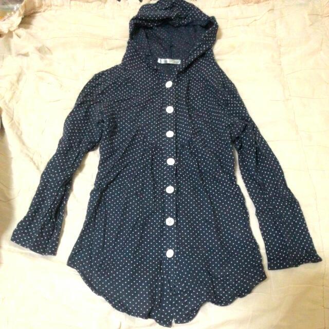 (含運149元)深藍色點點連帽長版上衣/薄外套