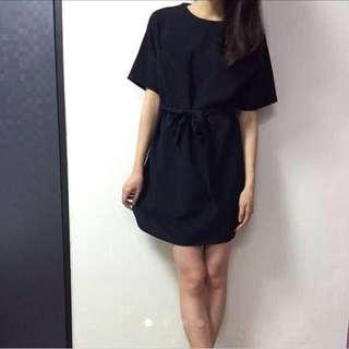 正韓 自然氣息 綁腰棉麻洋裝