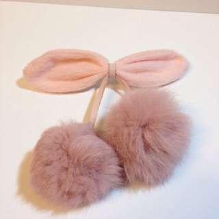 日本帶回 兔毛蝴蝶結髮夾