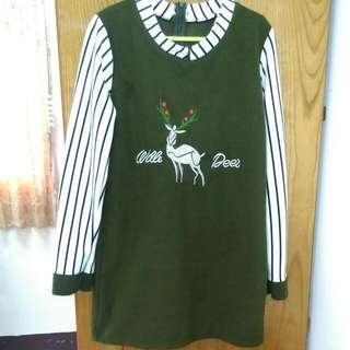 麋鹿洋裝 綠色