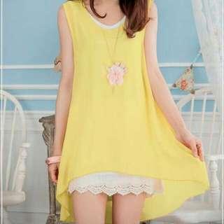 黃色氣質小洋裝 前短後長 非常好看