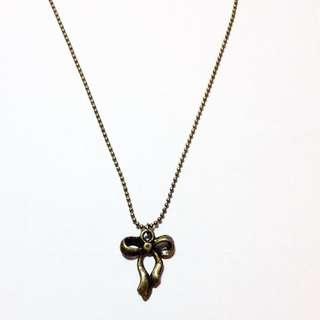 復古 古銅色蝴蝶結項鏈 頸鏈 短鏈 鎖骨鏈
