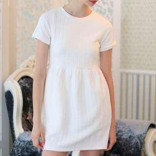 BN TSW Wonderland Textured Babydoll Dress In white