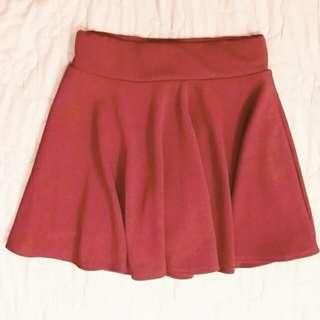 酒紅鬆緊腰短裙傘裙