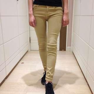 (包郵) Zara 卡其色窄管激瘦褲