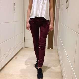 (包郵) Zara 超激瘦 酒紅色 女 窄管褲