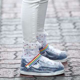 防雨鞋套【Allen小舖】小圓點點都會時尚中筒防水/防雨鞋套 H352