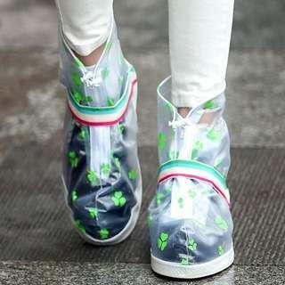 防雨鞋套【Allen小舖】三葉草都會時尚中筒防水/防雨鞋套 H362