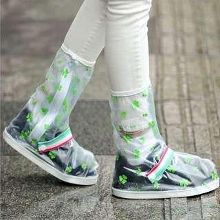 防雨鞋套【Allen小舖】三葉草都會時尚長筒防水/防雨鞋套 H363