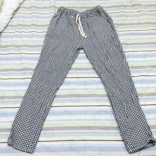 黑白格子棉長褲