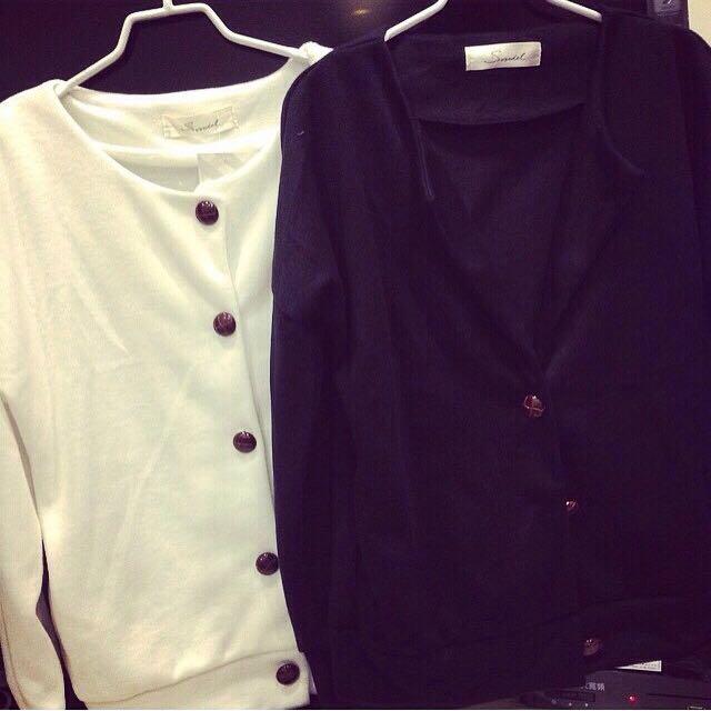 白色微厚針織外套