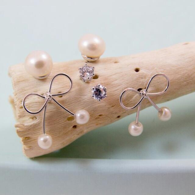 [新貨到]鋼絲蝴蝶珍珠垂墜耳環