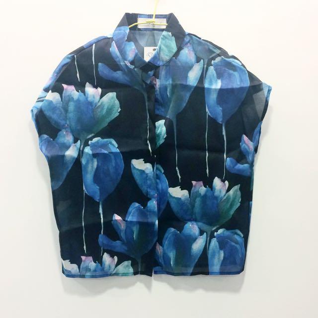 含運💕藍荷花兒襯衫