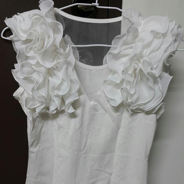 造型款花朵風合身上衣  背心