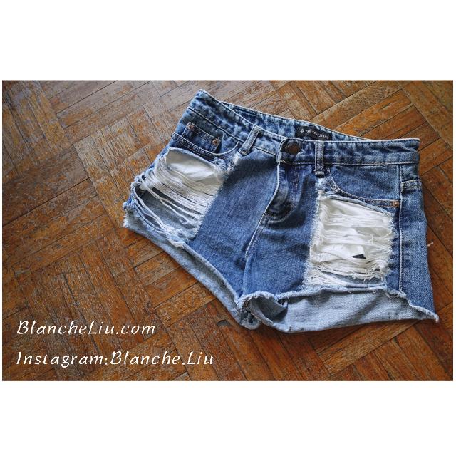 美式風 性感破損設計 高腰牛仔褲 修飾大腿、臀部必備 瘦腿