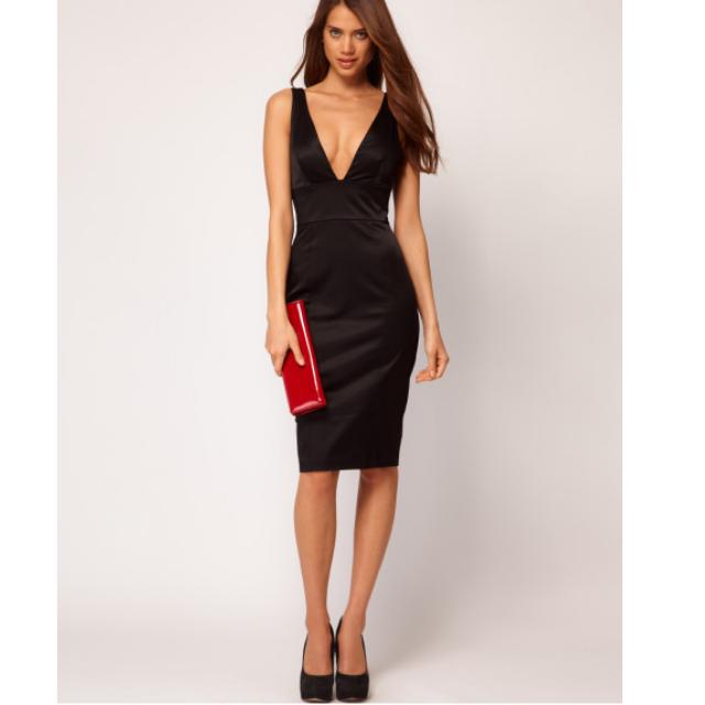 34796ecd89c4 Black Satin Midi dress - ASOS, Women's Fashion on Carousell