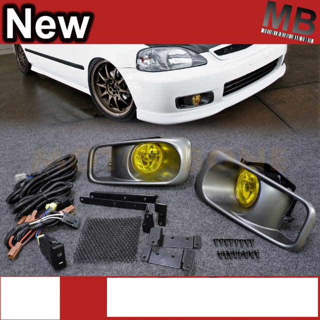 Image is loading Front-Bumper-Cover-Conversion-Winjet-Foglamp-Yellow-For-