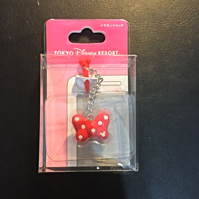 [迪士尼DISNEY] 日本帶回 正版 米妮 蝴蝶結 耳機塞 耳機孔塞 防塵塞