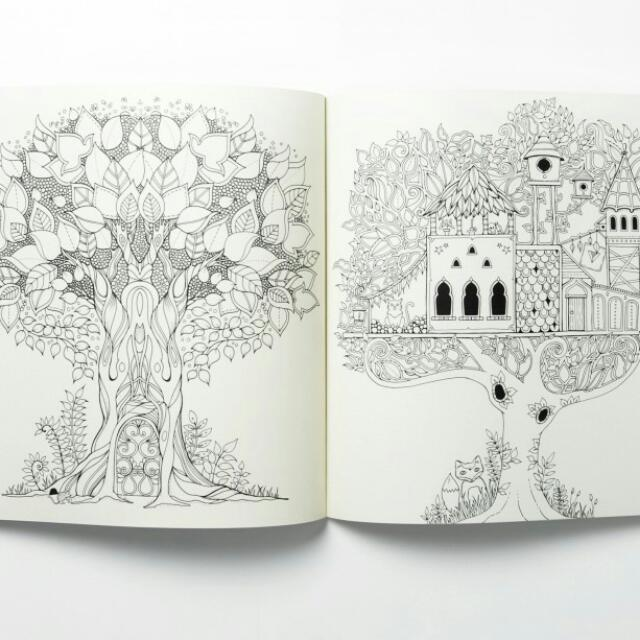 Enchanted Forest Korean Version Coloring Book Books Stationery On Carousell