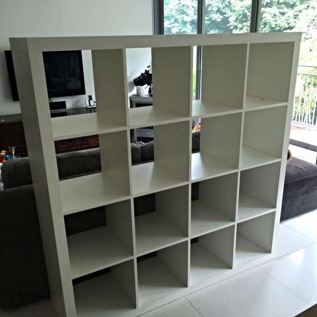 Ikea kallax shelving unit 4x4 white furniture on carousell - Kallax 4 cases ...