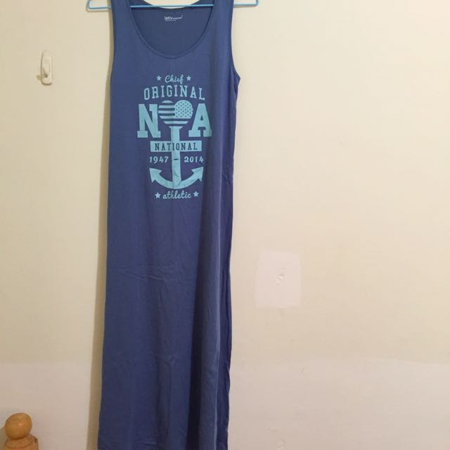 Lativ 長版無袖洋裝(藍)