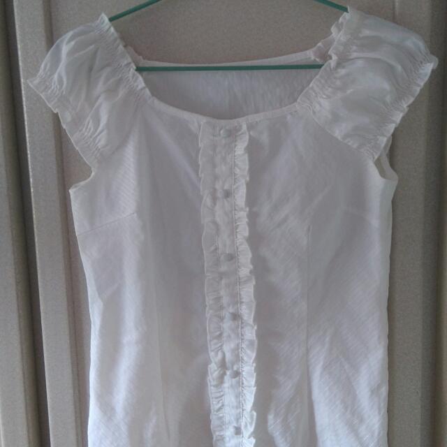 OL必備!無袖白色氣質款襯衫
